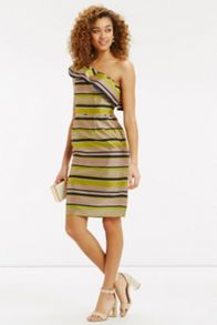 Oasis Multi Stripe Ruffle Dress