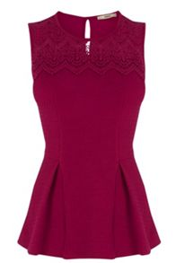 Textured lace yoke peplum top