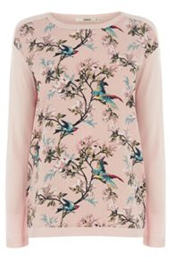 Bird And Floral Relaxed Woven