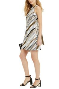 Oasis Stripe Jacquard Bow Back Dress
