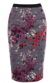 Painterly floral pencil skirt