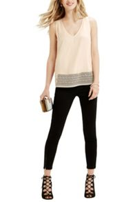 Oasis Tassle Lace Trim Shell Top