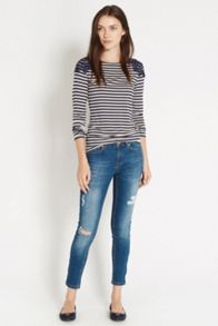 Lace trim stripe t-shirt