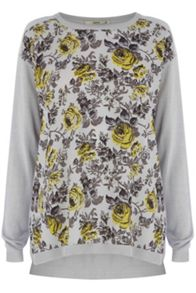 Shadow Floral Woven Front Top