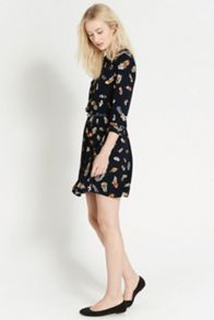 Feather Print Plait Neck Dress