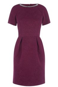 Emb Textured Lantern Dress