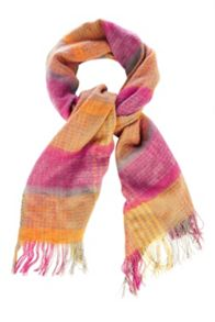 Coral woven check scarf