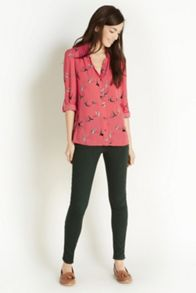 Linear swallow frill front shirt