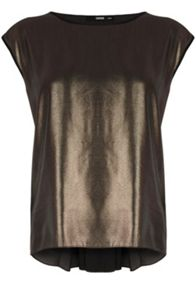 Metallic pleat back t shirt