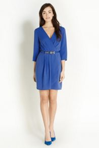 Plain crepe ls wrap dress
