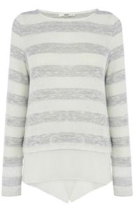 Lurex Stripe Chiffon Hem Top