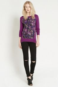 Smudgy Woven Front Top