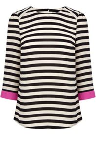 Stripe drape sleeve top