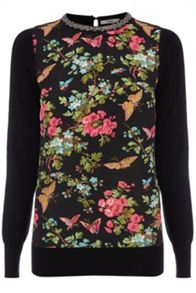 Embellished Woven Butterfly Print Top