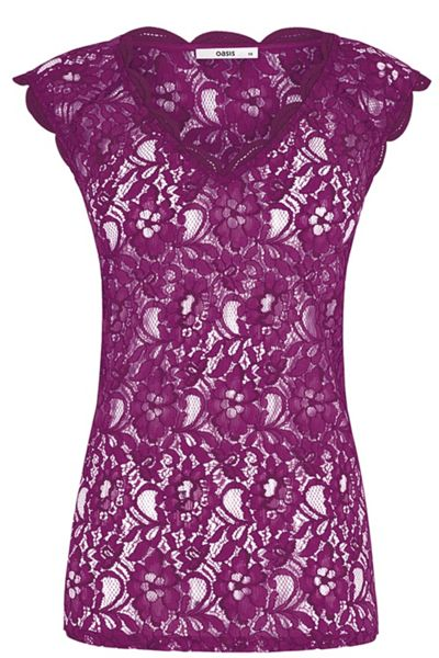 Oasis Lace V Neck Tee