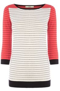 Colourblock pin dot stripe jumper