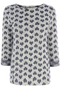 Heart jacquard sweater