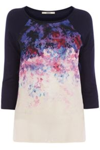 Placement floral woven front top