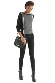 Texture colourblock slash neck top