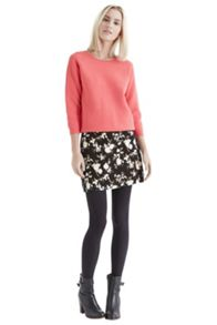Patched Shadow Rose Mini Skirt