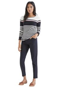 Border stripe crew jumper