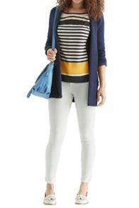 Graduated stripe woven front top