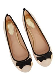 Quilted bow ballerina pumps
