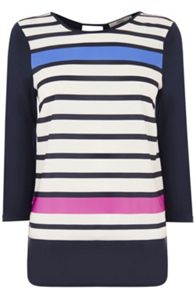 Engineered stripe woven front top