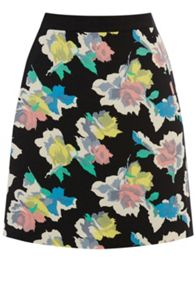 Art rose patched print mini skirt