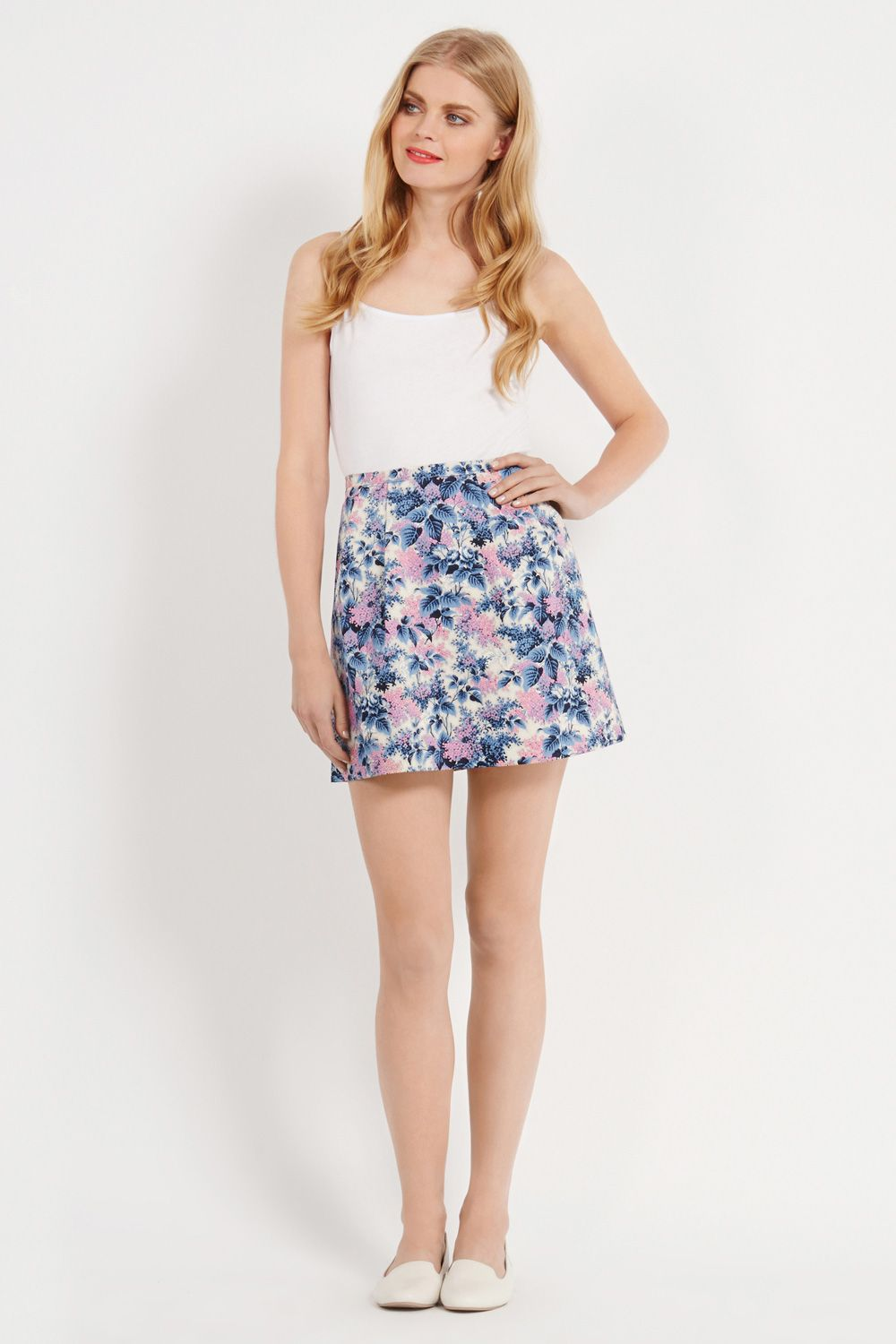 Botanical buddleia print skirt