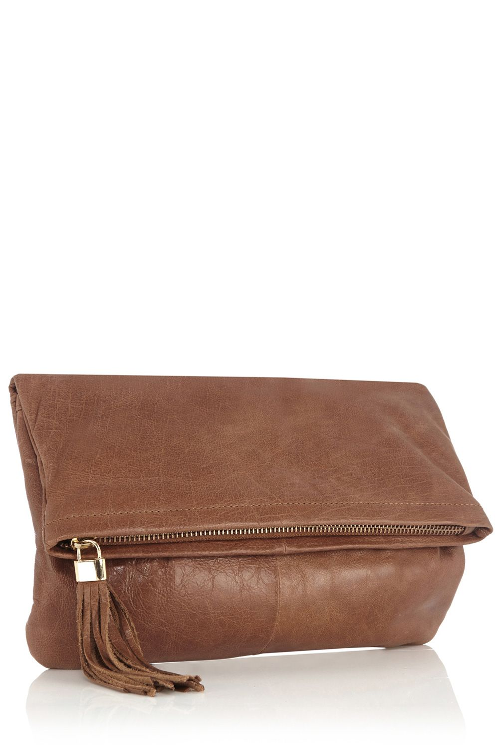 Clove leather clutch across body bag
