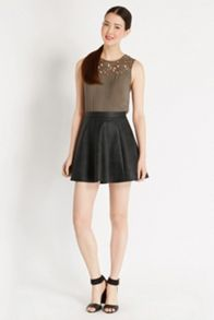 Bailey faux leather skater skirt