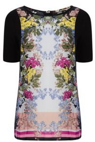 Mirror Floral Woven Front Sweat