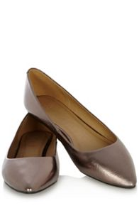 Metallic flat pointed shoe