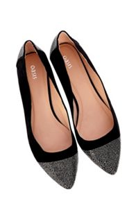 Sparkle toecap flat pointed pumps