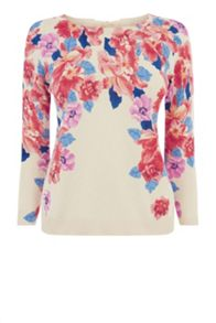 Floral cropped knit top