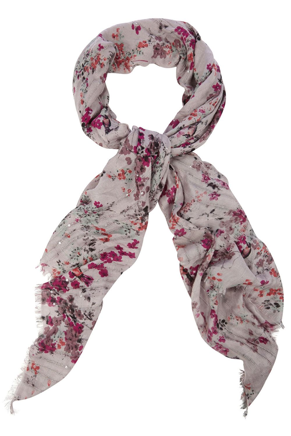 Oriental painterly bird scarf