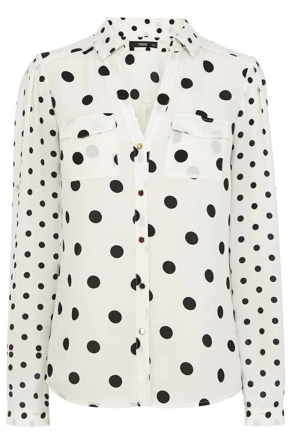 Spot patched print shirt