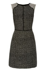 Tweed Geo Print Shift Dress