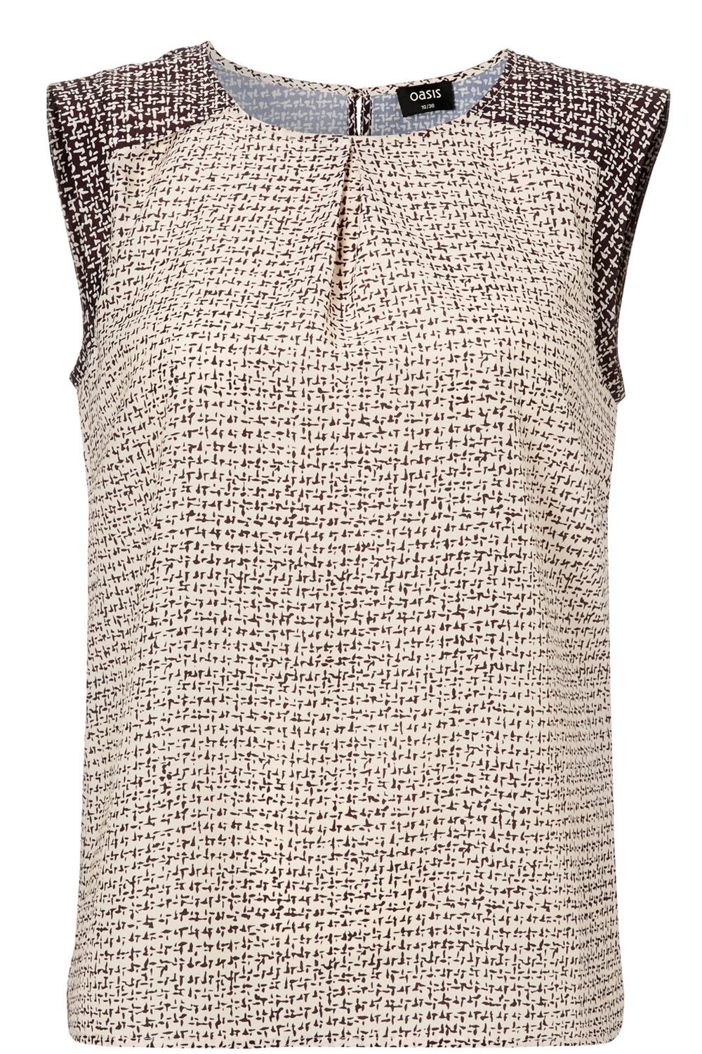 Tweed Geo Print Shell Top