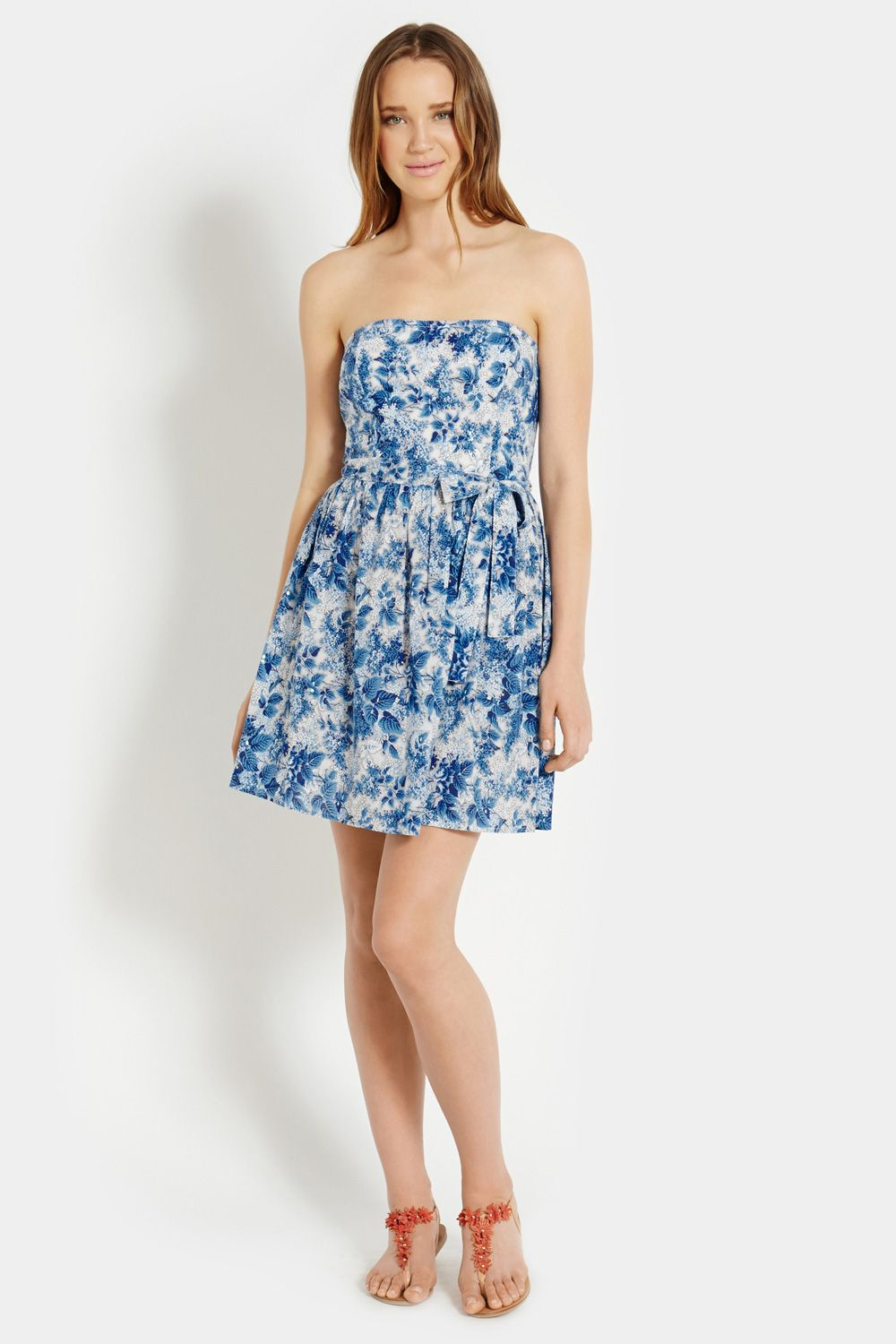 Ditsy Blues Bandeau Dress