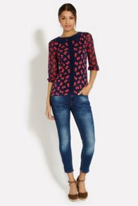 Bow print collar top