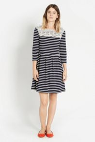 Lace yoke stripe dress