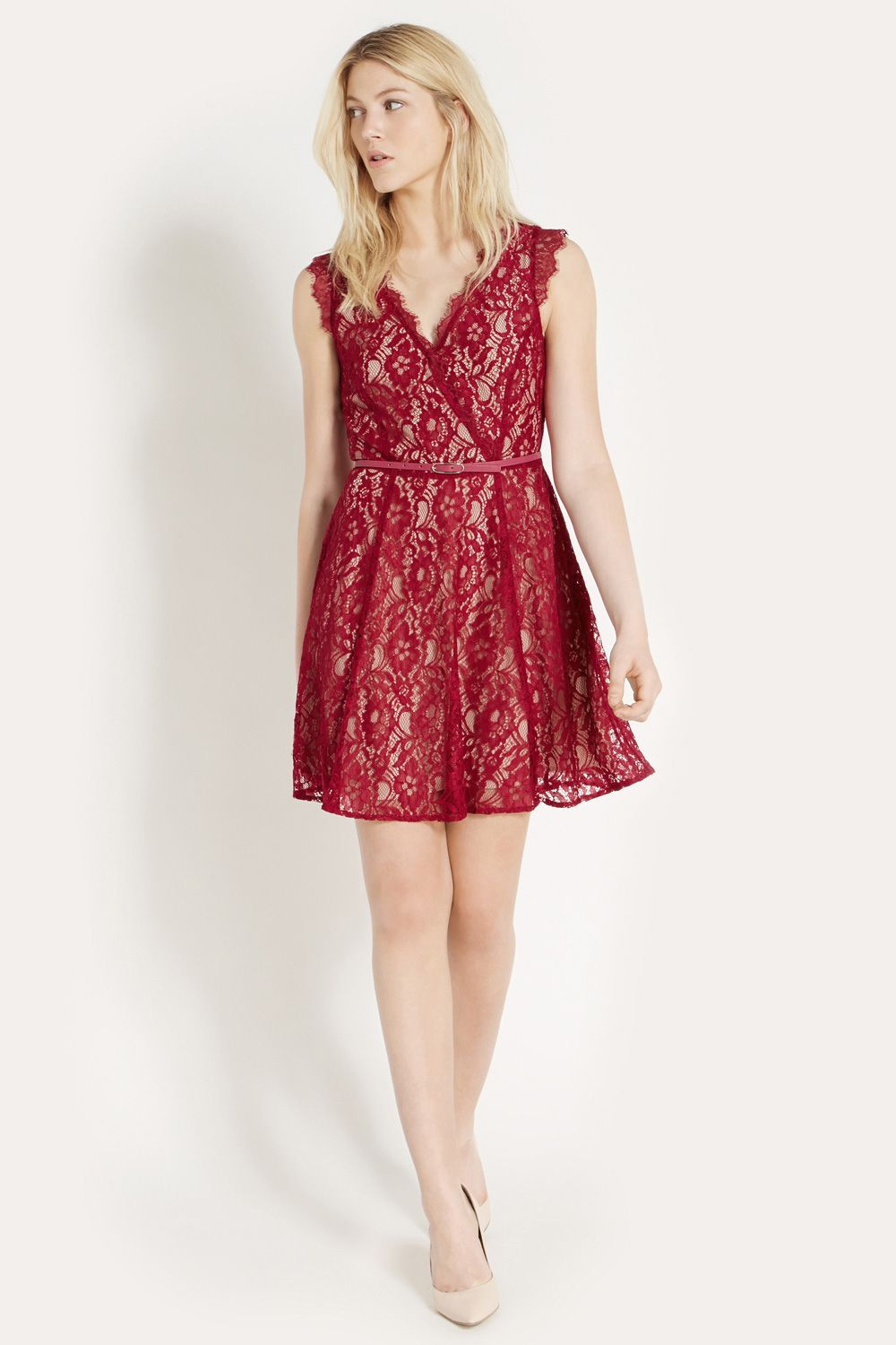 Lace wrap skater dress