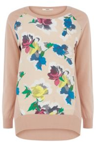 Bloom floral woven front top