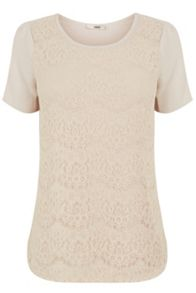 Lace curved hem t shirt