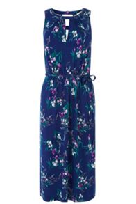 Iris print notch neck midi dress