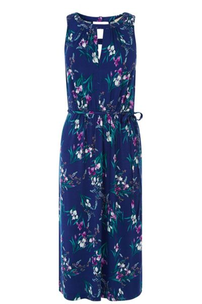 Oasis Iris print notch neck midi dress