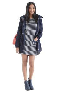 Chambray pocket stripe shift dress