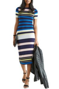 Multi Stripe Tube Midi Dress